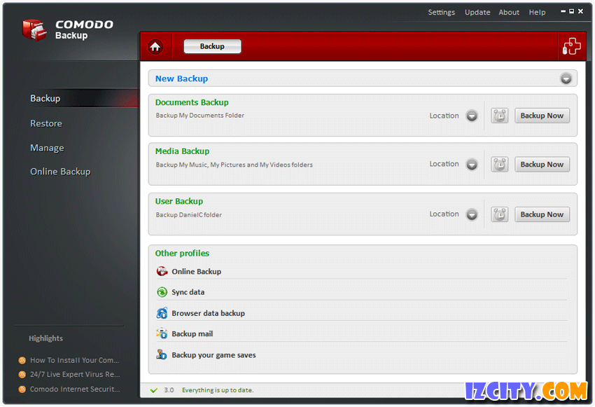 Comodo BackUp FREE Version